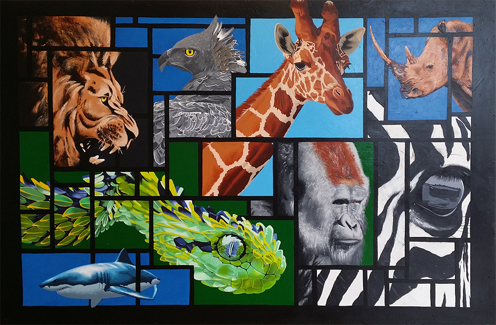 African Animals acrylic painting