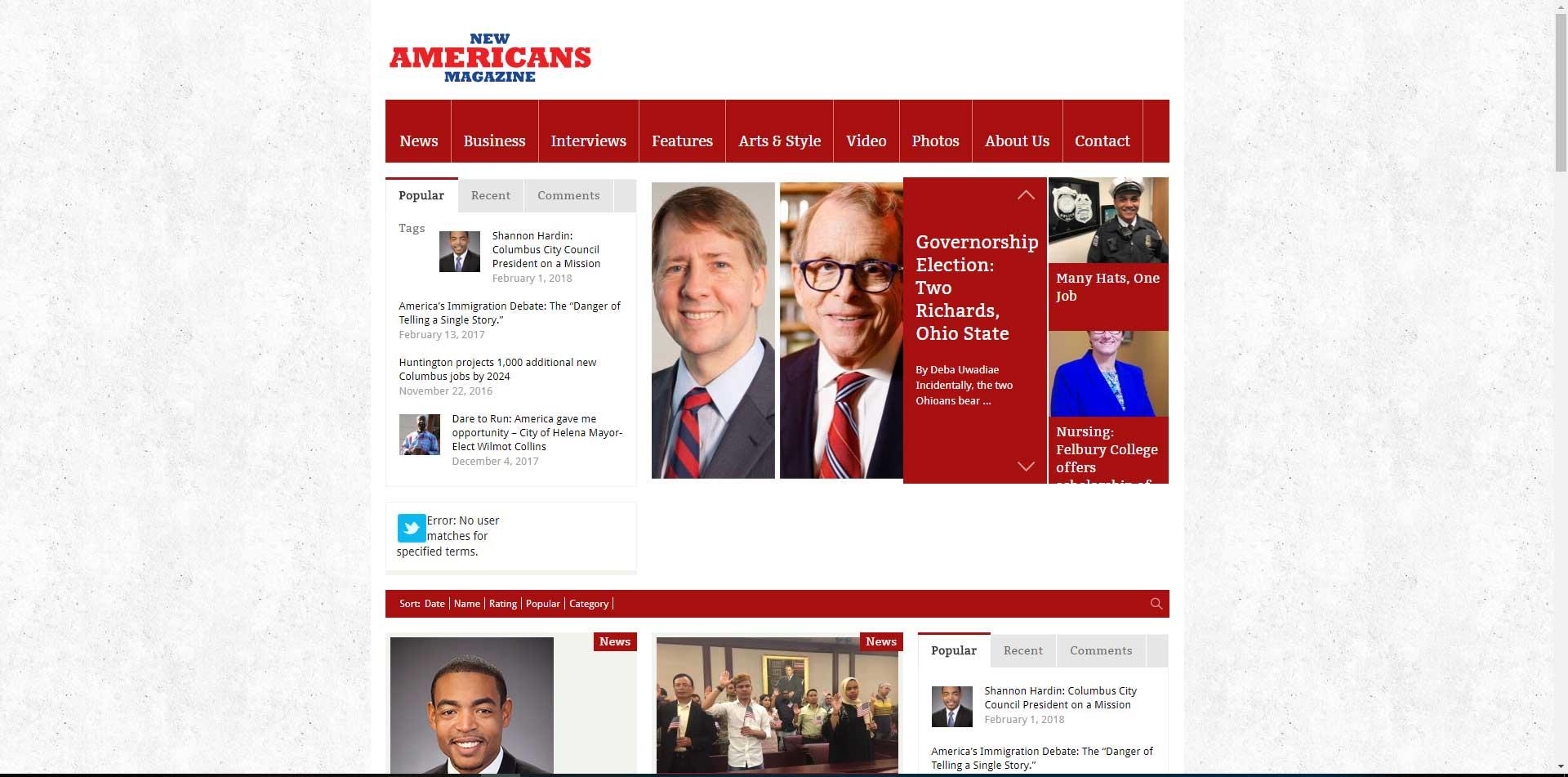 New Americans Magazine website